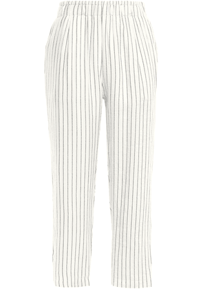 Joie Cropped Striped Woven Tapered Pants Woman Off-white Size L