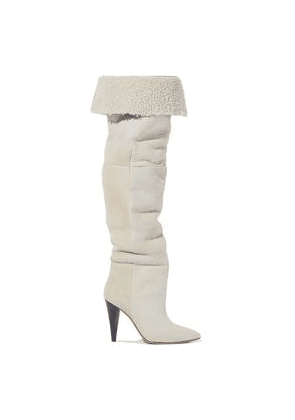 Iro Graceful Shearling Over-the-knee Boots Woman Beige Size 39