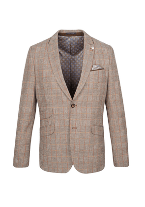 Taupe With Orange Check Glen Plaid Suit Jacket