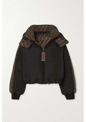 Fendi - Reversible Printed Quilted Shell Down Bomber Jacket - Black