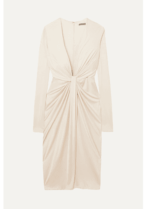 TOM FORD - Twist-front Satin-jersey Dress - Off-white
