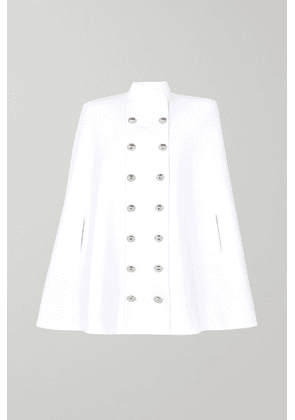 Balmain - Button-embellished Double-breasted Wool And Cashmere-blend Cape - White