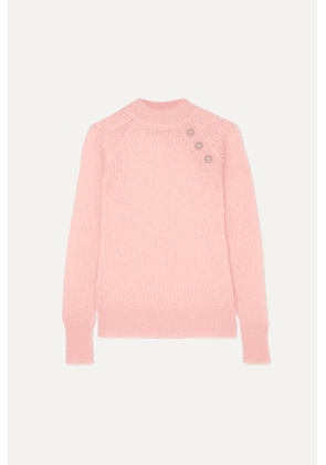 Balmain - Button-embellished Ribbed Mohair-blend Sweater - Pink