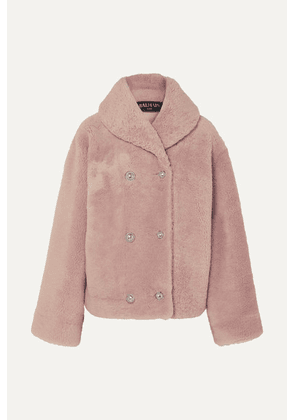 Balmain - Double-breasted Shearling Coat - Pink