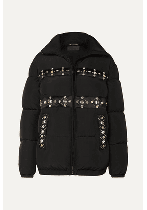 Versace - Embellished Quilted Shell Down Coat - Black