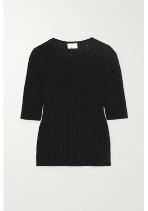 Allude - Ribbed Cotton And Silk-blend Top - Black