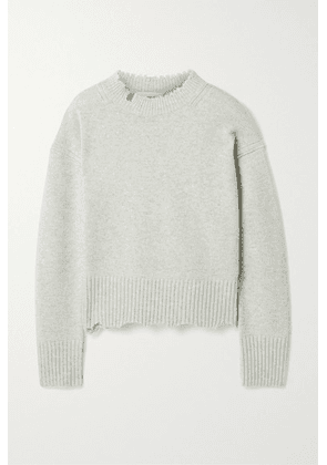 Helmut Lang - Distressed Mélange Wool And Cashmere-blend Sweater - Stone