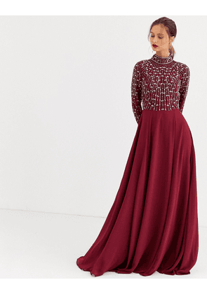 ASOS DESIGN maxi dress with linear embellished bodice and wrap skirt-Red
