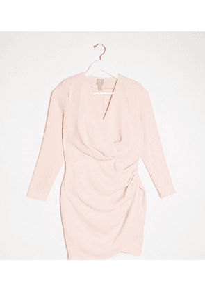 ASOS DESIGN Petite long sleeve pleat wrap front mini dress in blush-Pink