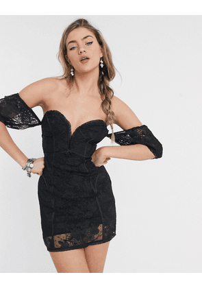 For Love and Lemons Azalea strapless mini dress in black