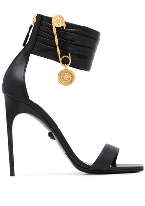 Versace Safety Pin square toe sandals - Black