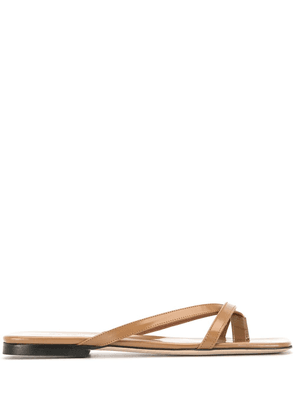 BY FAR square toe sandals - Brown