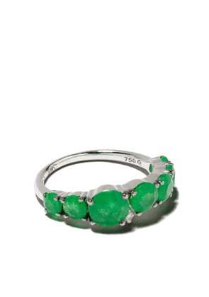 Brumani 18kt white gold, diamond and jade ring - White gold and green