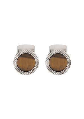 Tateossian Bullseye tiger-eye cufflinks - SILVER