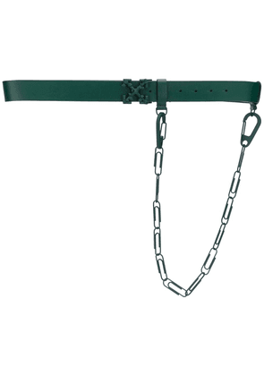 Off-White LEATHER BELT WITH CHAIN DARK GREEN NO C