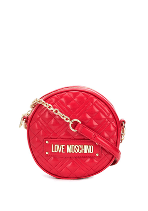 Love Moschino quilted round shoulder bag - Red