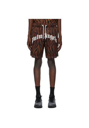 Palm Angels Brown Tiger Shorts
