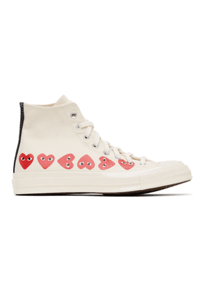 Comme des Garcons Play Off-White Converse Edition Multiple Hearts Chuck 70 High Sneakers