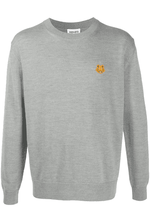 Kenzo Tiger embroidered crew neck jumper - Grey