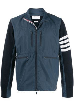 Thom Browne Ripstop Front Milano Funnel Neck Zip-Up jacket - Blue