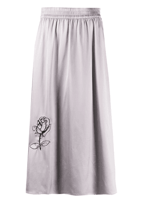 Soulland Liz rose embroidered skirt - Grey
