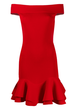 Alexander McQueen ribbed off-the-shoulder mini dress - Red