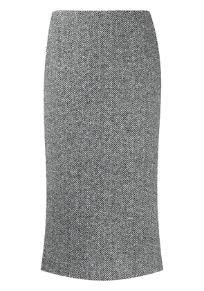 Ermanno Scervino herring bone pencil skirt - White