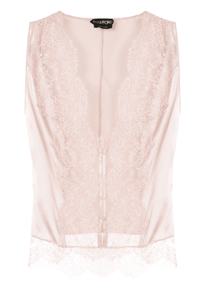 Tom Ford lace-front sleeveless blouse - PINK