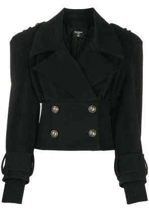 Balmain cropped double-breasted jacket - Black