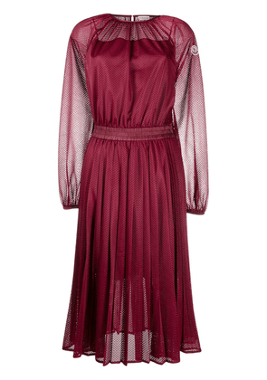 Moncler perforated pleated midi dress - Red