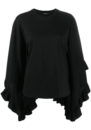 Dsquared2 asymmetric flared sleeve top - Black