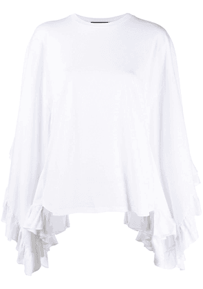 Dsquared2 asymmetric flared sleeve top - White