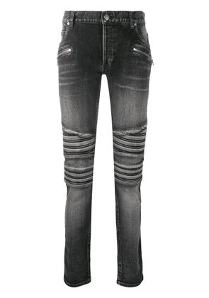 Balmain ribbed distressed skinny jeans - Black
