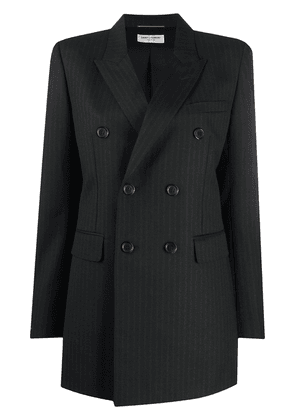 Saint Laurent double-breasted pinstriped blazer - Black