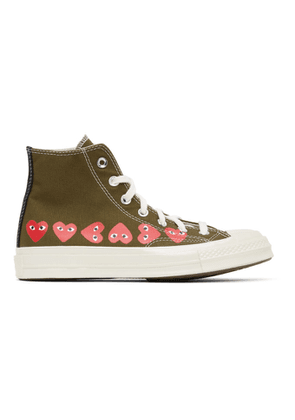 Comme des Garcons Play Khaki Converse Edition Multiple Hearts Chuck 70 High Sneakers