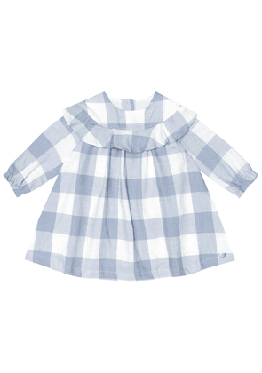 Baby checked cotton-blend dress