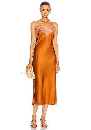 JONATHAN SIMKHAI Blair Bias Slip Dress in Toffee - Brown,Orange. Size L (also in M,XS).