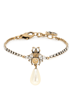 Bee crystal bracelet with faux pearl