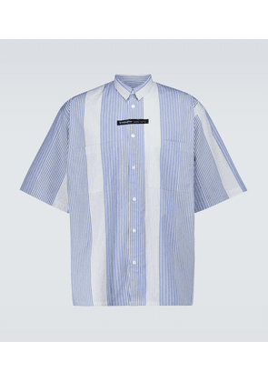 Candy striped short-sleeved shirt