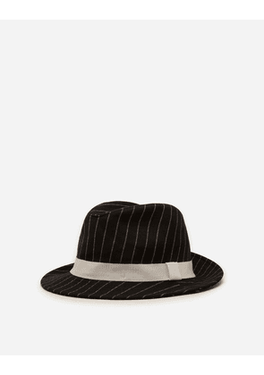 Dolce & Gabbana Hats and Gloves - PINSTRIPE WOOLEN FABRIC FEDORA HAT MULTICOLORED