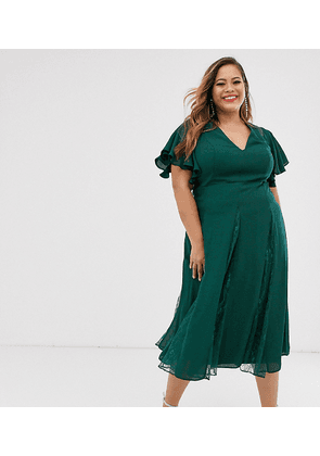 ASOS DESIGN Curve midi dress with lace godet inserts-Green
