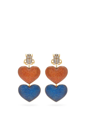 Begum Khan - Scarab Mon Amour Gold-plated Clip Earrings - Womens - Multi