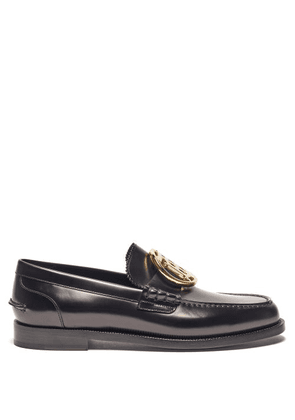 Burberry - Emile Tb-plaque Leather Loafers - Mens - Black