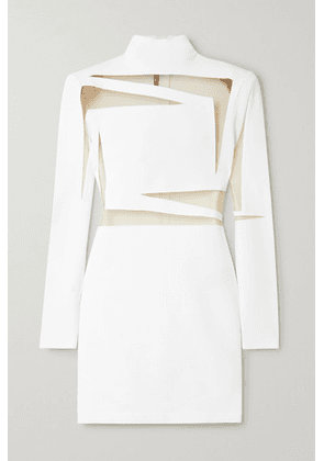 Balmain - Tulle-paneled Stretch-knit Mini Dress - White