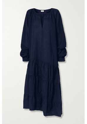 By Malene Birger - Amily Asymmetric Tiered Striped Cotton-voile Maxi Dress - Midnight blue