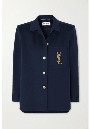 SAINT LAURENT - Embroidered Wool-blend Jacket - Navy