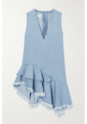 Marques' Almeida - Asymmetric Frayed Ruffled Denim Dress - Blue