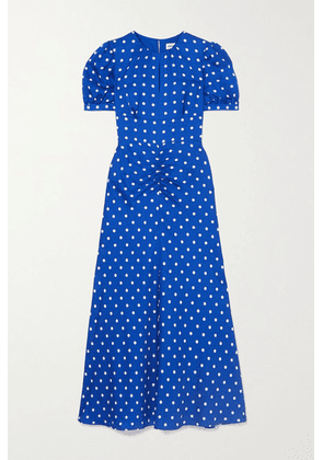 Self-Portrait - Polka-dot Satin-jacquard Midi Dress - Blue