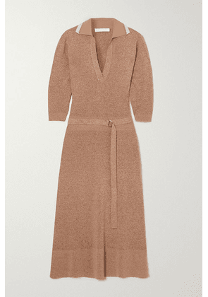 Chloé - Belted Mélange Wool And Silk-blend Midi Dress - Beige