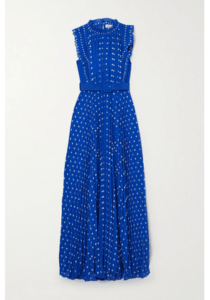 Self-Portrait - Belted Pleated Polka-dot Chiffon Maxi Dress - Blue
